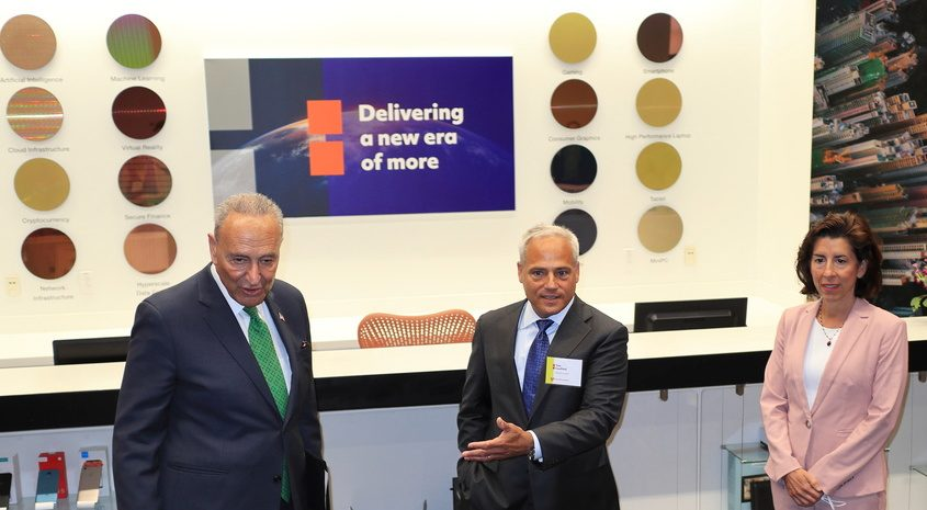 From left, U.S. Senate Majority Leader Charles Schumer, D-N.Y.; GlobalFoundries CEO Tom Caulfield; and U.S. Secretary of Commerce Gina Raimondo pose at GlobalFoundries Fab 8 in Malta Monday