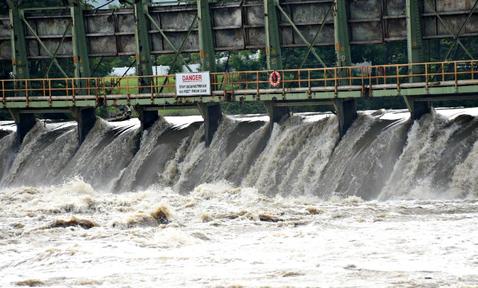 STAN HUDY/THE DAILY GAZETTEWater flows at an alarming rate through Lock 9 on the Mohawk River Monday afternoon after heavy rainfall has raised the water levels significantly over the past few weeks. July 19, 2021.
