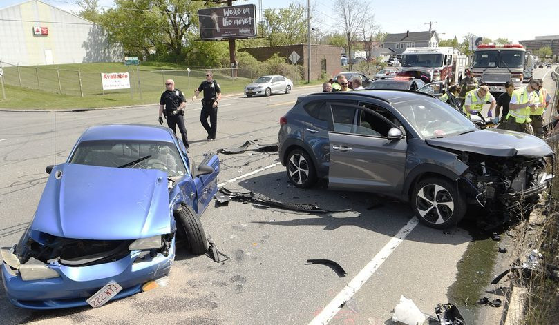 This May 14, 2018 photo shows two vehicles involved in a collision at Erie Boulevard and Seneca Street.