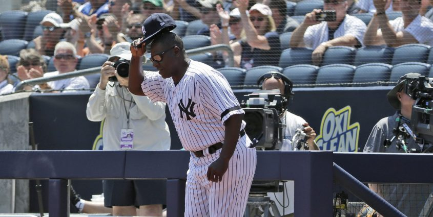 Former New York Yankee Charlie Hayes is introduced during Old Timer's Day at Yankee Stadium on June 23, 2019, in New York. (AP Photo/Seth Wenig)