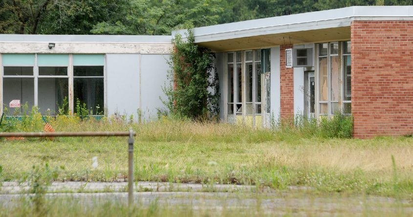 Theformer chool, now owned by Mekeel Christian Academy, stands vacant on Cyprus Drive in Glenville on July 8.