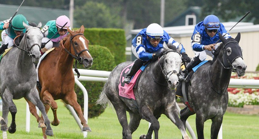 Althiqa, ridden by Manuel Franco, trained by Charlie Appleby, wins the Grade I 83rd running of The Diana Stakes at Saratoga Race Course in Saratoga Springs Saturday
