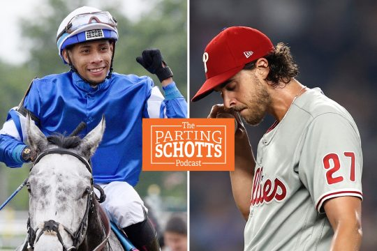 Left, Manny Franco, atop Althiqa after winning last Saturday's Diana Stakes. Right, Philadelphia Phillies pitcher Aaron Nola says he has not been vaccinated for the coronavirus. (Erica Miller, The Associated Press)