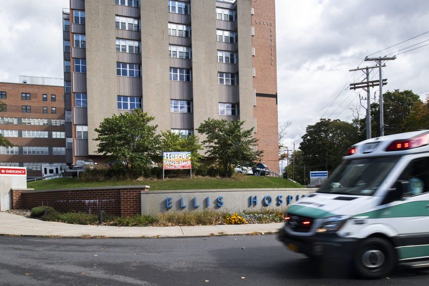 Ellis Hospital in Schenectady is shown in October 2020.