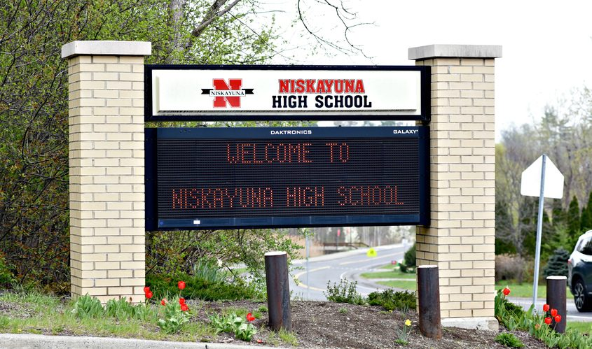 A Niskayuna High Schoolsign is situated at the school's entrance at Nott Street East on April 25.