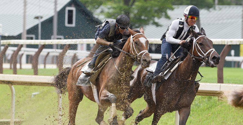 Malathaat, trained by Todd Pletcher, with John Velazquez atop (outside), breezes accompanied by Zaajel on the main track at Saratoga Race Course in Saratoga Springs on July 17.