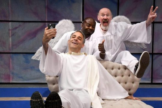"""From left:Bill Shein, Richard Marshall and Scott Wasser in a scene from Curtain Call Theatre's production of """"An Act of God."""""""