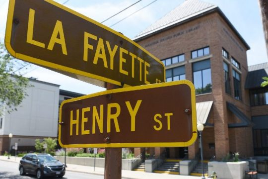 The street signs at the intersection of Henry and La Fayette streets in Saratoga Springs are seen on Saturday, July 24, 2021.