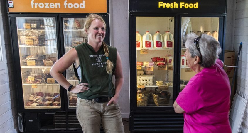 Erika Gogis, left, owner of the Plaid Farm Store, talks with customer Mary-Anna Simpsoninside the shop located in the town of Florida on Friday, July 23, 2021.