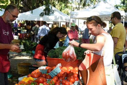 In this 2016 photo,a patron purchases fruits and vegetables fromKristy's Barn of Schodack, during the Spa City Farmers Market at Lincoln Baths.