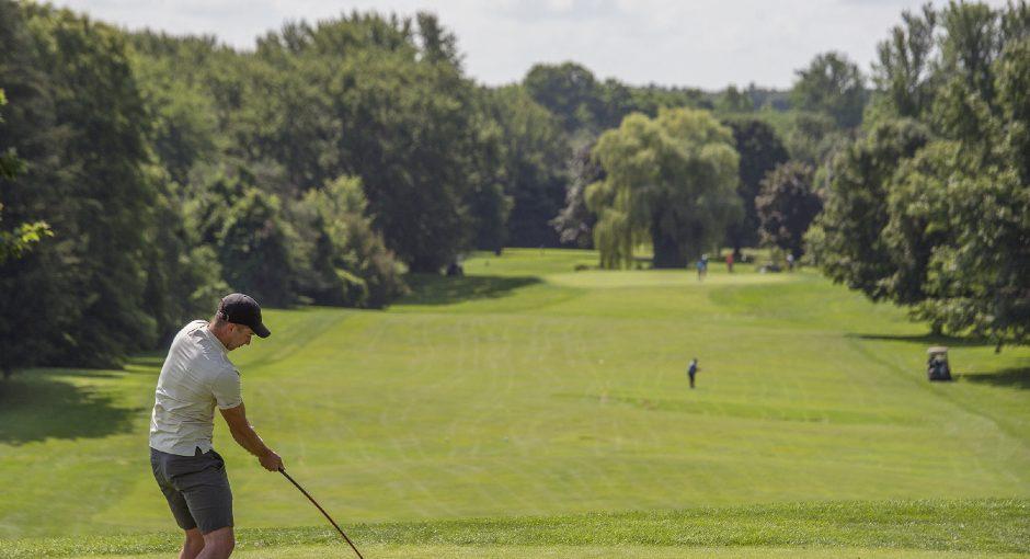 Blake Trzesiara, of Wynantskill, tee's off on the 19th hole at Van Patten Golf Club in Jonesville on Friday
