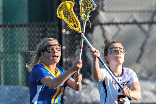 Kendra Harbinger, right, is transferring to UMass to play women's lacrosse.