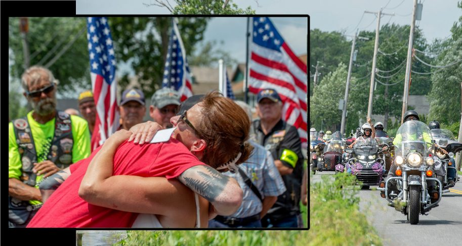 Vickie DeAugustine hugs her son Danny Fisher and the 12th annual Tribute to Fallen Soldiers Memorial Torch Motorcycle Ride Sunday