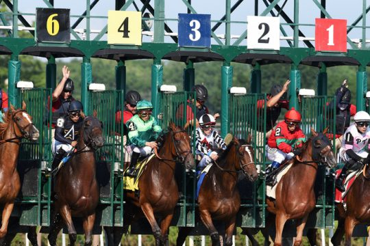 Start of the Grade III Shuvee Stakes at Saratoga Race Course in Saratoga Springs Sunday