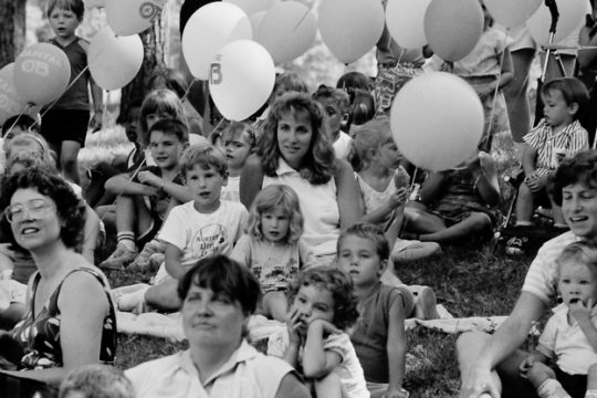 """Central Park is filled with balloons and people for Schenectady's """"Tuesday in the Park"""" on August 2, 1988."""
