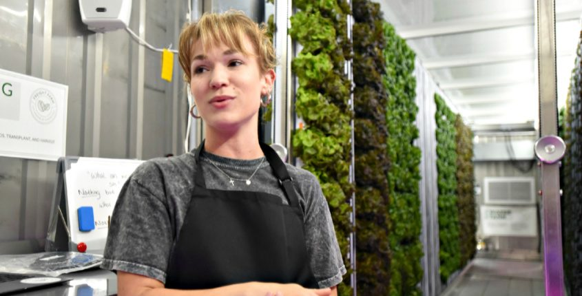 Freight Farm coordinator Elsa Bohl talks about the newly installed hydroponic Freight Farm adjacent to the Schenectady City Mission on Hamilton Streeton Monday.