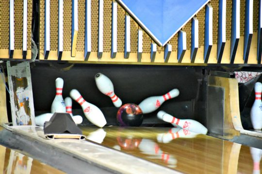 STAN HUDY/THE DAILY GAZETTE A perfect strike is delivered Tuesday afternoon at Boulevard Bowl in Schenectady as the Silver Warriors faced Shaker in a virtual Suburban Council match. Jan. 12, 2021.