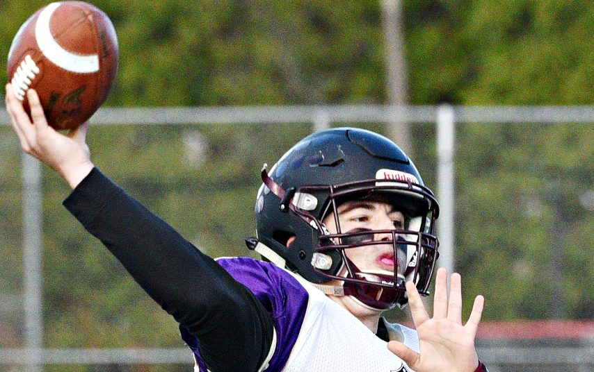 Joe Tortello throws a pass during a Holy Trinity football game in 2019.