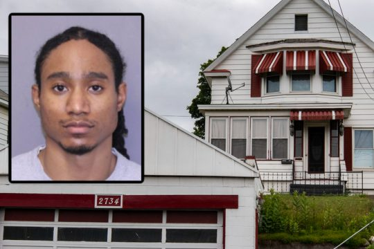 Dequan Greene (inset) and the home at 2734 Broadway in Rotterdam where authorities say Charlie Garay was murdered. Credit: Schenectady County District Attorney's Office (inset)
