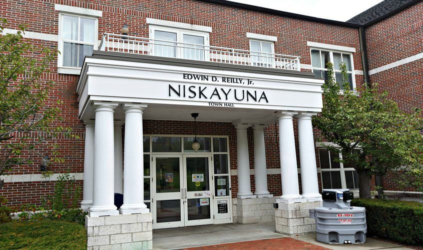 Exterior of the Niskayuna Town Hall building at Niskayuna Circle in September 2020.