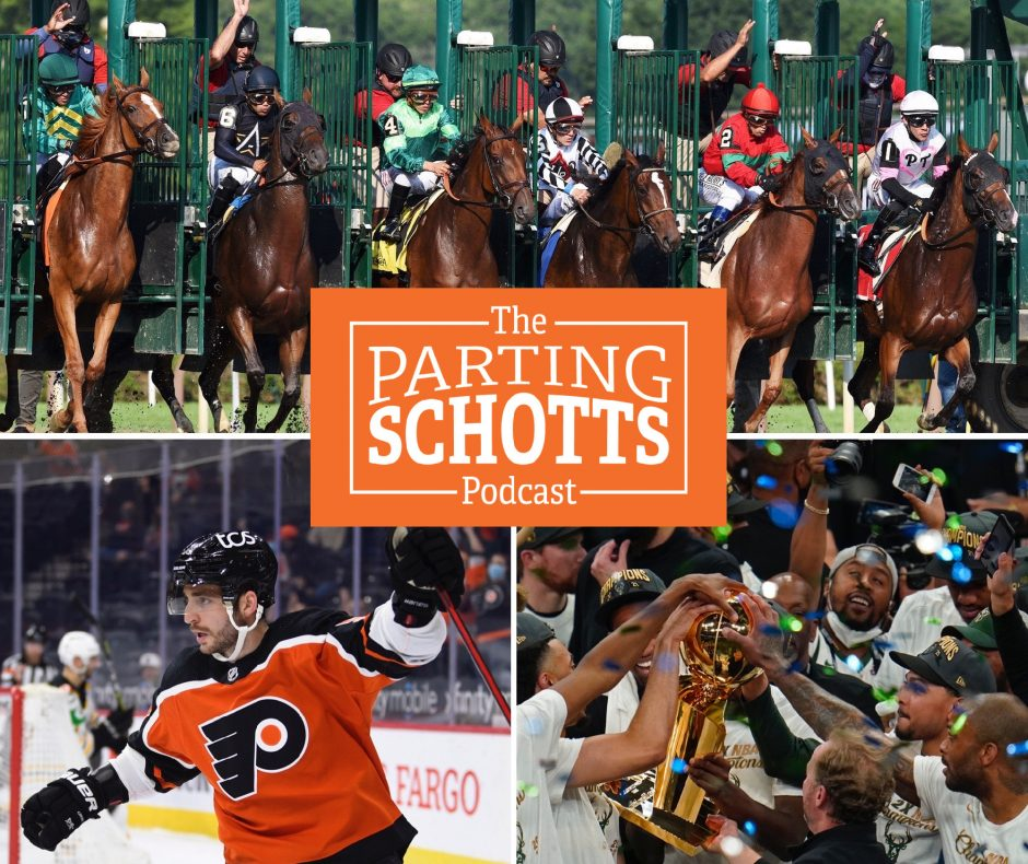 """Saratoga horse racing, Shayne Gostisbehere and the Milwaukee Bucks' NBA title are the topics on this week's """"The Parting Schotts Podcast."""""""