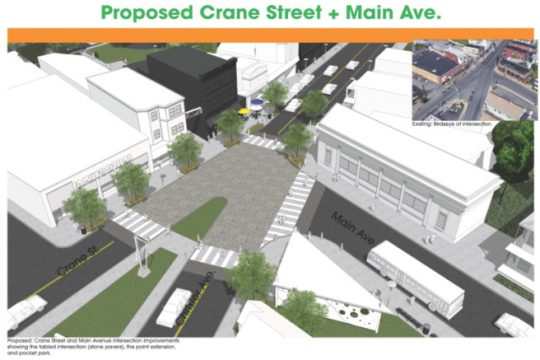 The plan for the Crane and Main street intersection