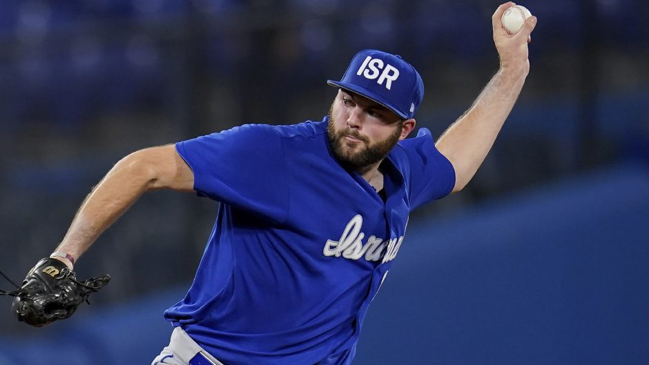 Israel pitcher and former Union College standout Jake Fishman throws during Thursday's game against South Korea at the 2020 Summer Olympics on Thursday in Yokohama, Japan. (Sue Ogrocki/The Associated Press)