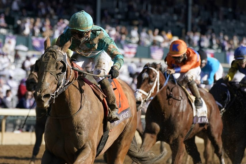 Whitmore and jockey Irad Ortiz Jr. win the Breeders' Cup Sprint at Keeneland on Nov. 7.