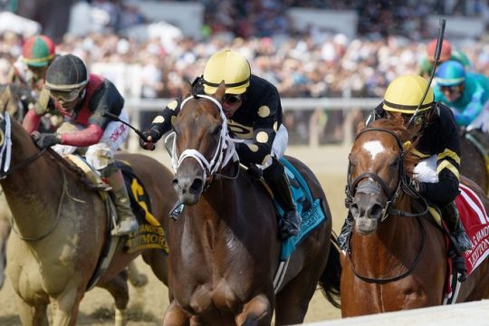 Lexitonian, right, skims the rail to beat Special Reserve, center, and Whitmore, left, in the A.G. Vanderbilt at Saratoga on Saturday.