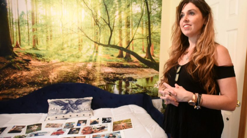 Above: Mary Elizabeth Jenks talks about her daughter, U.S. Army Specialist Abigail Jenks who died in a training accident at Fort Bragg on April 19, in a room she created to honor her in her Gansevoort home on July 20, 2021.