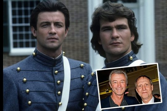 """James Read, left, and Patrick Swayze in a scene from the 1985 TV miniseries """"North and South."""" Inset: Read with childhood friend Mark Mindel at a Niskayuna High School reunion in 2010 at the Mohawk Club in Niskayuna. (Reunion photo by Katherine Mindel)"""