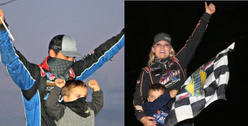 Left: Stewart Friesen and his son, Parker, at Fonda Speedway in June 2020. Right: Jessica Friesen with son Parker in victory lane at Fonda July 10 after Jessica won the night's Sunoco Modified feature. (Photos courtesy Jeff Karabin)