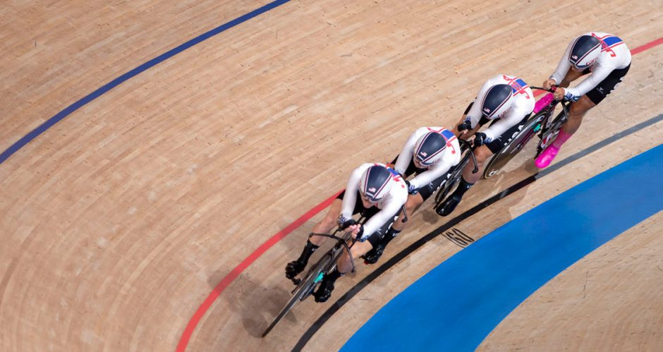 The United States' Emma White, Jennifer Valente, Lily Williams and Chloe Dygert compete in qualifying for the track cycling women's team pursuit at the 2020 Tokyo Olympics on Monday at the Izu Velodrome. (Photo courtesy USA Cycling)