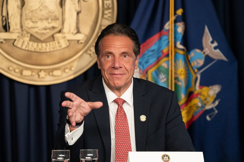 Gov. Andrew Cuomo provides an update on COVID-19 on Monday in New York City.