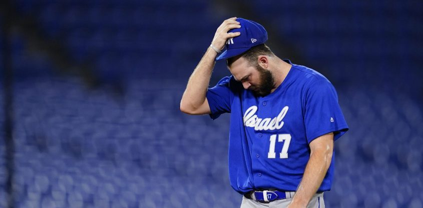 Israel pitcher and former Union College standout Jake Fishman walks off the mound in the sixth inning of the team's game against the Dominican Republic at the 2020 Summer Olympics on Tuesday, in Yokohama, Japan. (Matt Slocum/The Associated Press)