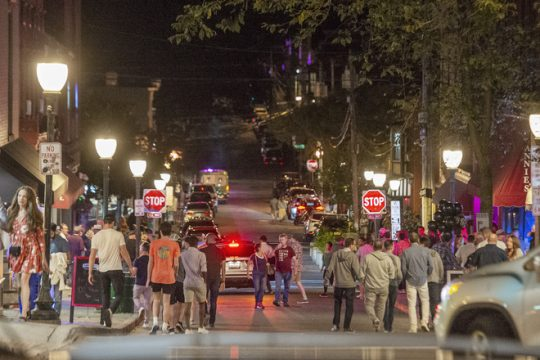 ERICA MILLER/THE DAILY GAZETTE   Downtown night as crowds fill the bars on Caroline Street in late hours in Saratoga Springs on Friday, June 30, 2021.