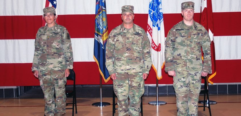 PHOTO PROVIDEDFrom left, Major Amy Crounse, Maj. Gen. Michael Natali and Major Doug Berinstein are shown at a July 30 change of command ceremony in Latham.