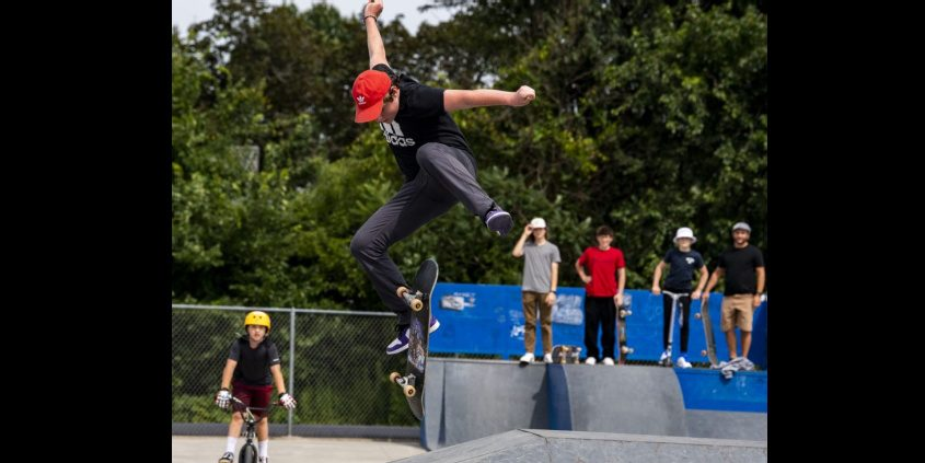 Hunter Goodwin, 15, is airborne at the Saratoga Skate Park Tuesday.