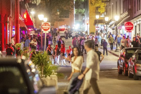 Downtown night as crowds fill the bars on Caroline Street in late hours in Saratoga Springs on Friday