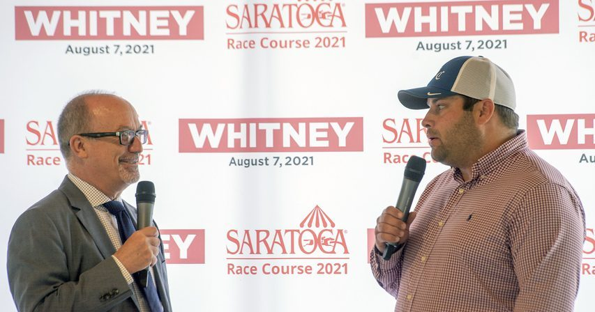Analyst Andy Serling interviews Brad Cox, trainer of Knicks Go, during the Whitney draw at the new Marylou Whitney Pavilion at Saratoga Race Course in Saratoga Springs on Wednesday.