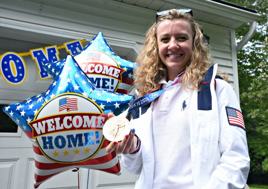 Duanesburg High School and Union College graduate Emma White presents her bronze medal, won in women's track cycling team pursuit at the Tokyo Olympic Games.