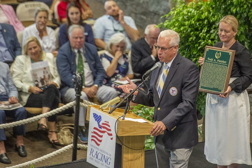 Trainer Todd Pletcher addresses the audience as he is inducted into the National Racing Hall of Fame on Friday.