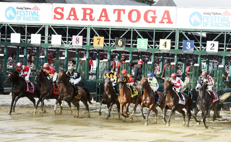 The start of the 91st running of the Whitney on Aug. 4, 2018 at Saratoga Race Course.