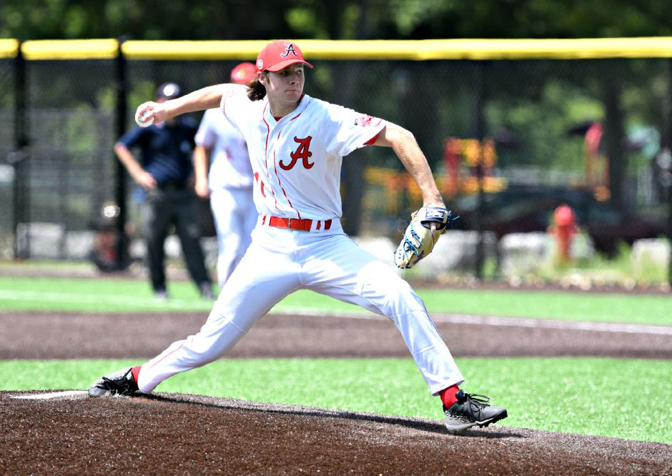 Albany Athletics pitcher Kyle Lambert struck out 11 in 1 1/3 innings of relief Friday against the Waterford Nationals in Game 1 of the Albany Twilight League Championship Series.