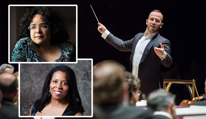 Yannick Nezet-Seguin leads the Philadelphia Orchestra in this file photo. Inset: Composers Gabriela Lena-Frank, top, and Valerie Coleman. (Credits: Matthew Murphy - Coleman; Jessica Griffin - Nezet-Seguin)