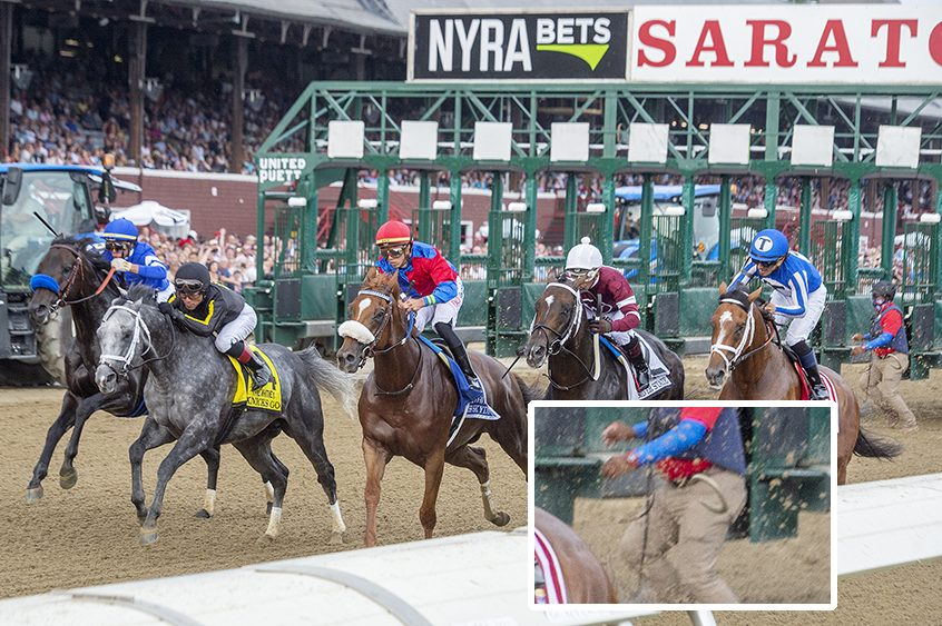 The field for Saturday's Whitney, including By My Standards, right, leaves the starting gate at Saratoga Race Course. The inset photo shows the horseshoe that flipped off his left front hoof.