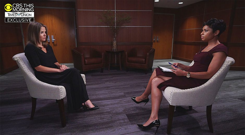 This image provided by CBS This Morning/Times Union shows Brittany Commisso, left, answering questions during an interview with CBS correspondent Jericka Duncan on CBS This Morning, Sunday, Aug. 8, 2021, in New York.