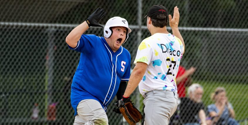 Schenectady's Dan LeBlanc celebrates after rounding first base after hitting a home run against Mechanicville at River Road Park in Niskayuna recently.