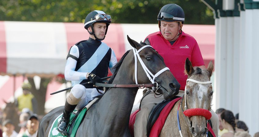 Con Lima, ridden by Flavien Prat, trained by Todd Pletcher, enters the track for the Grade III Saratoga Oaks Invitational Stakes at Saratoga Race Course in Saratoga Springs Sunday