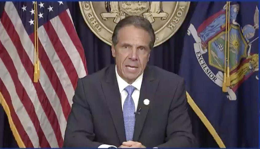 In this still image from video,  Gov. Andrew Cuomo speaks during a news conference in Albany on Tuesday.